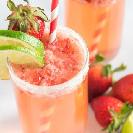Two glasses of a strawberry citrus mocktail