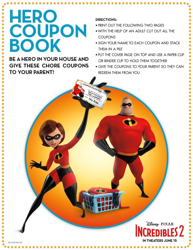 Printable hero coupon book and Incredibles coloring pages