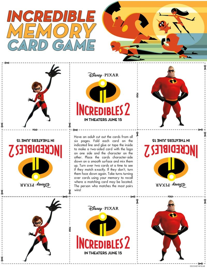 Incredibles memory game for Incredibles 2