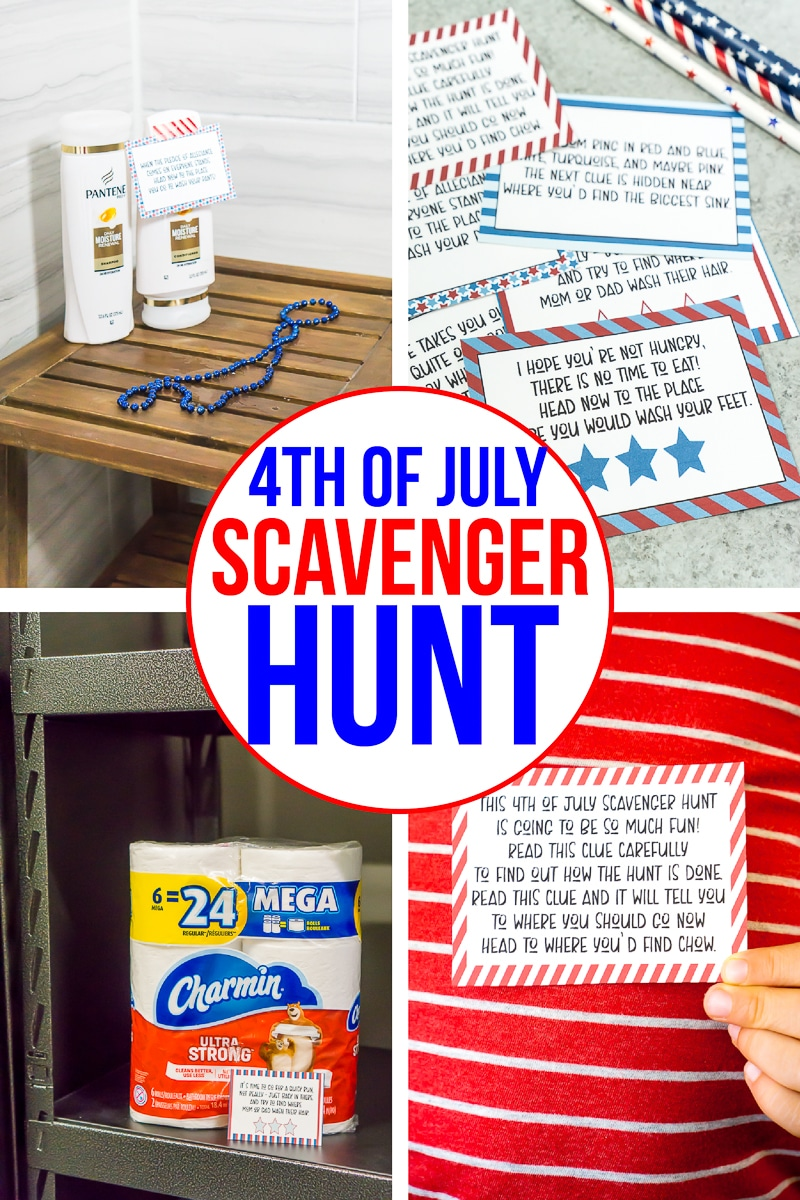 A collage of photos of a 4th of July scavenger hunt