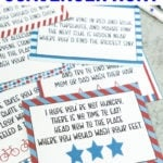 4th of july scavenger hunt cards in a pile
