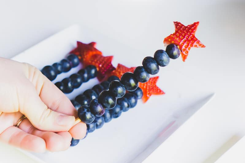 Skewered red white and blue fruit and fun 4th of July party ideas