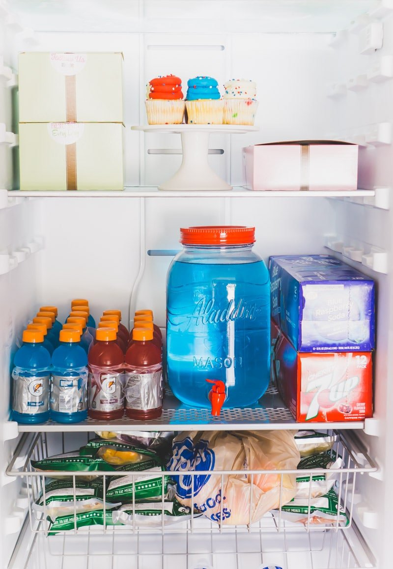 Showing drinks for a 4th of July party in the Gladiator All Refrigerator