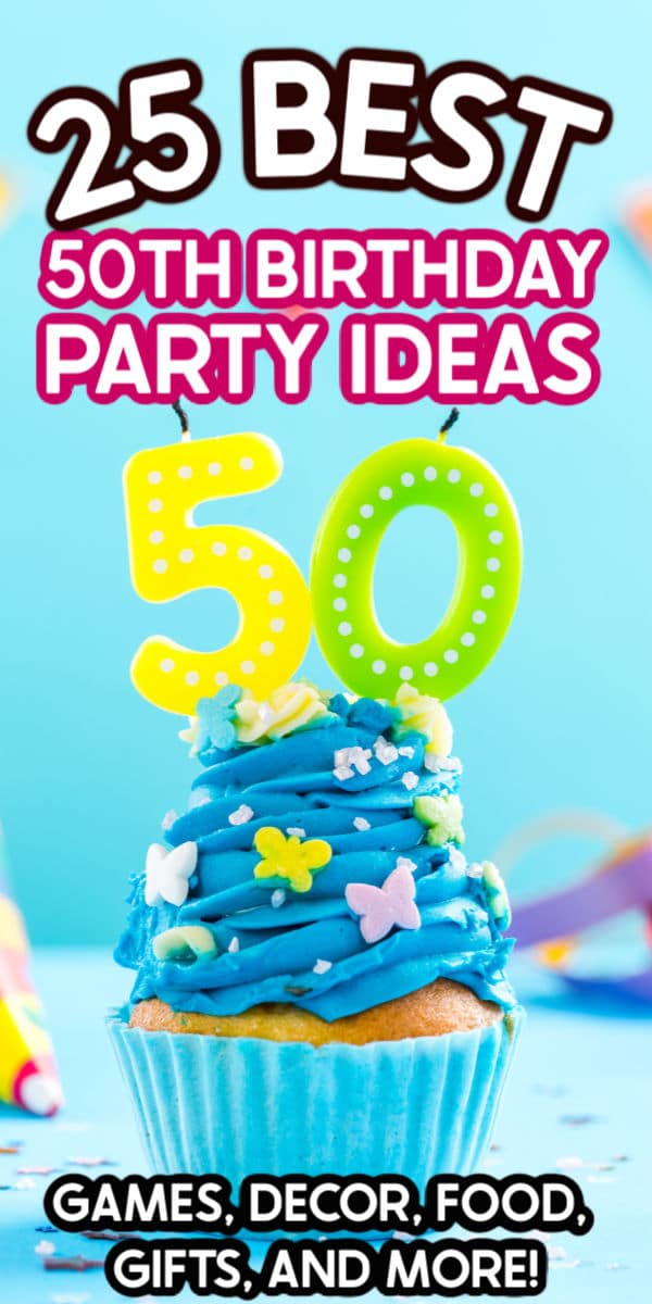 Cupcake with blue frosting and 50 candle on a blue background with text