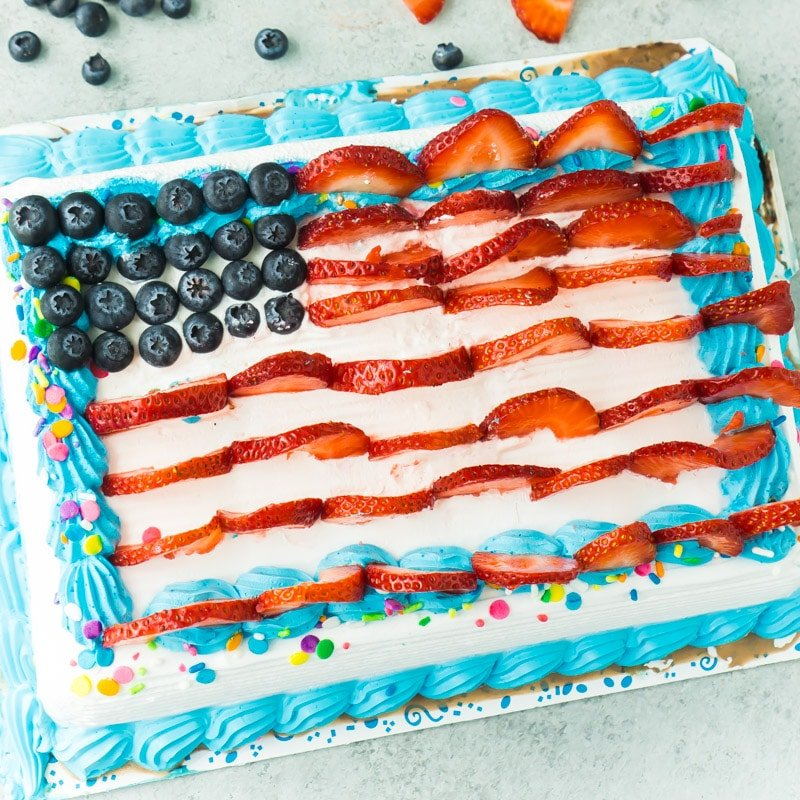 A Carvel ice cream cake turned into an American flag cake with fruit