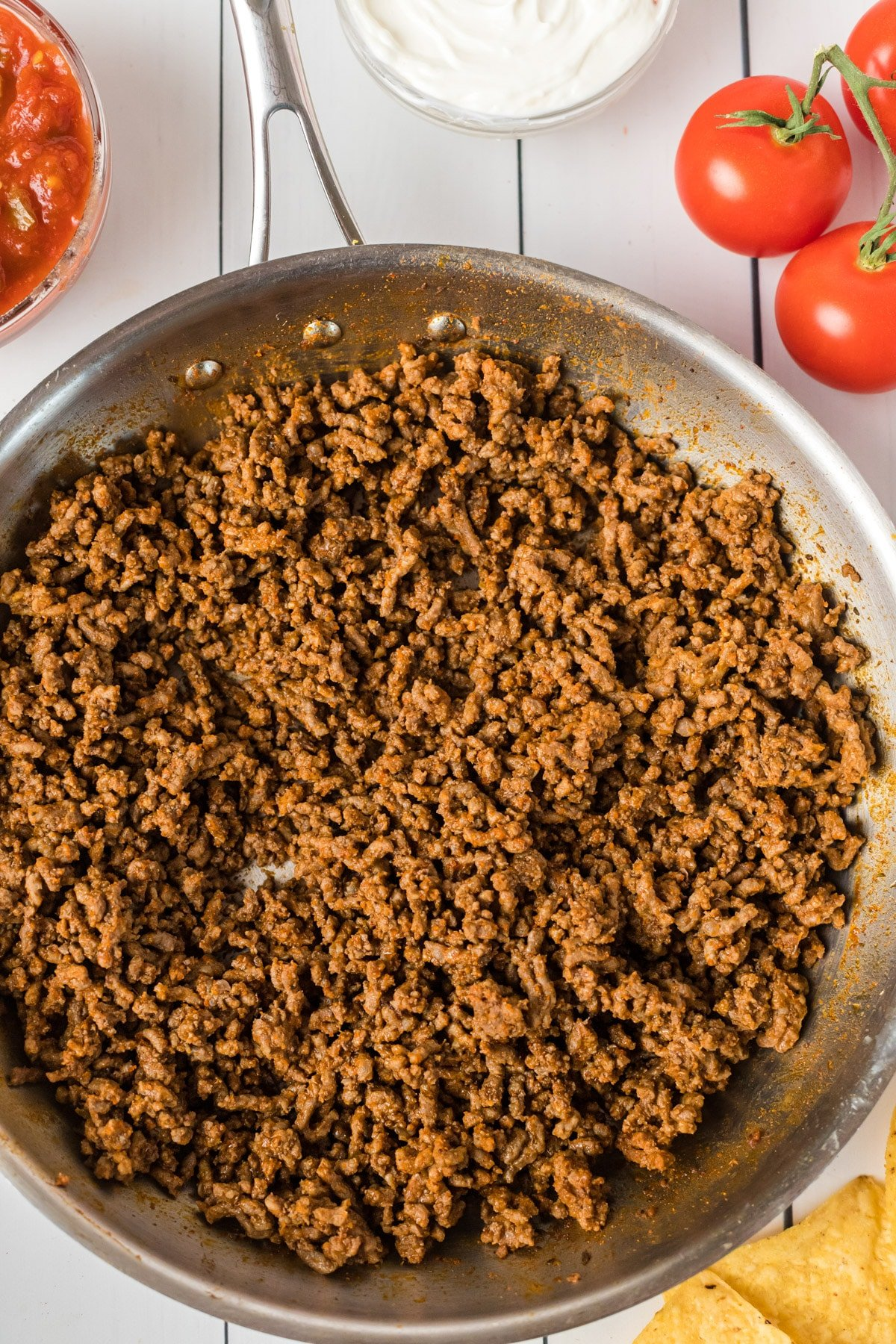 Pan full of homemade taco meat