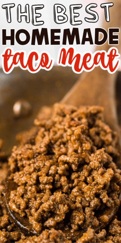 Homemade taco meat with text for Pinterest
