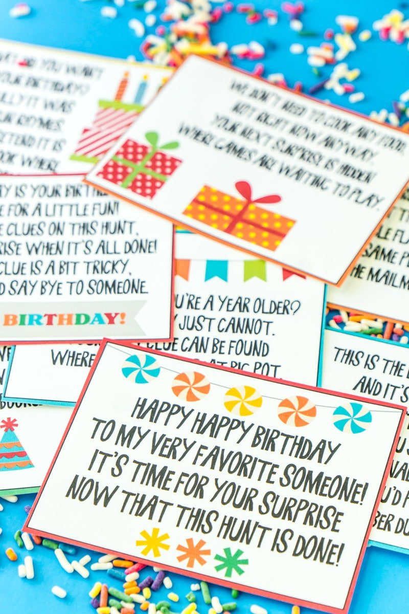 Birthday scavenger hunt clues in a pile
