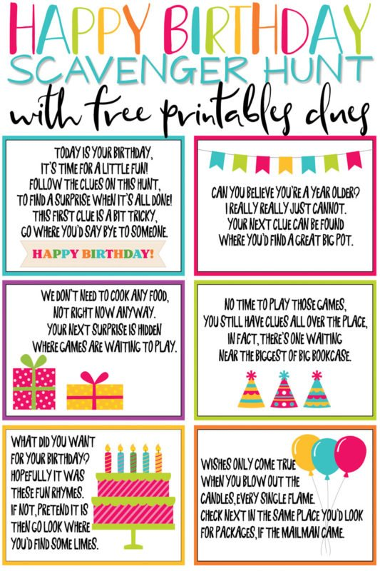 picture relating to Free Printable Left Right Birthday Game referred to as A Tremendous Enjoyment No cost Printable Birthday Scavenger Hunt - Enjoy