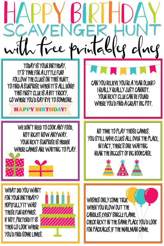 This birthday scavenger hunt is one of the most fun birthday ideas for kids or for adults! And with tons of free printable clues and riddles, you can add gifts all along the way! It's the perfect surprise for girls, boys, and any age!