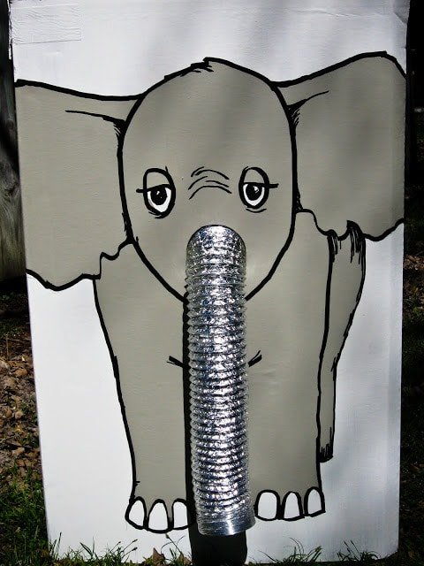 A DIY elephant game at a circus theme party