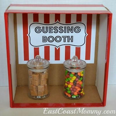 A guessing booth game at a circus birthday party