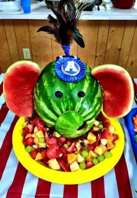 An elephant fruit salad makes one great circus themed party menu item