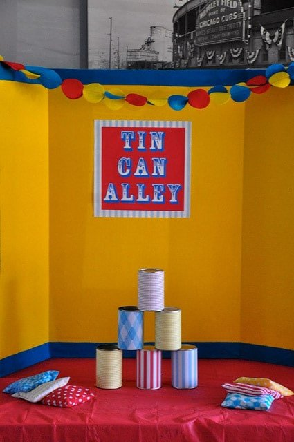 A tin can knock down game and other circus party ideas