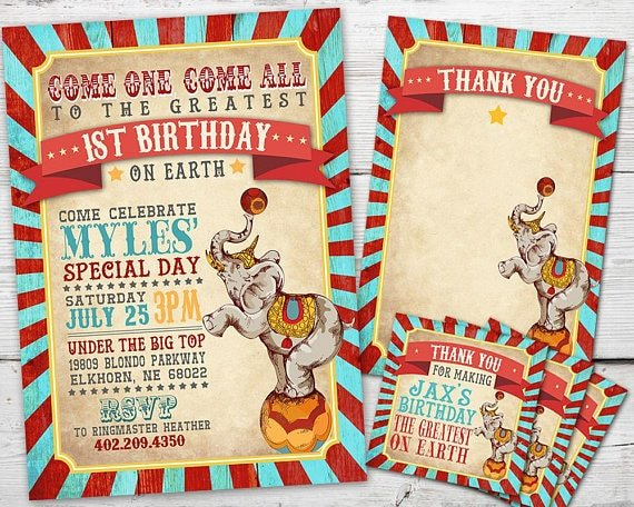 Vintage circus party invites