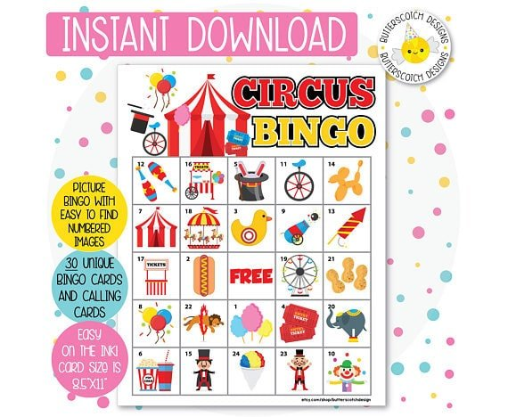 Printable circus bingo game for a circus party