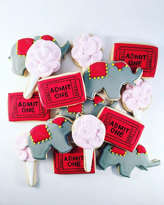 Cute circus cookies at a circus theme party