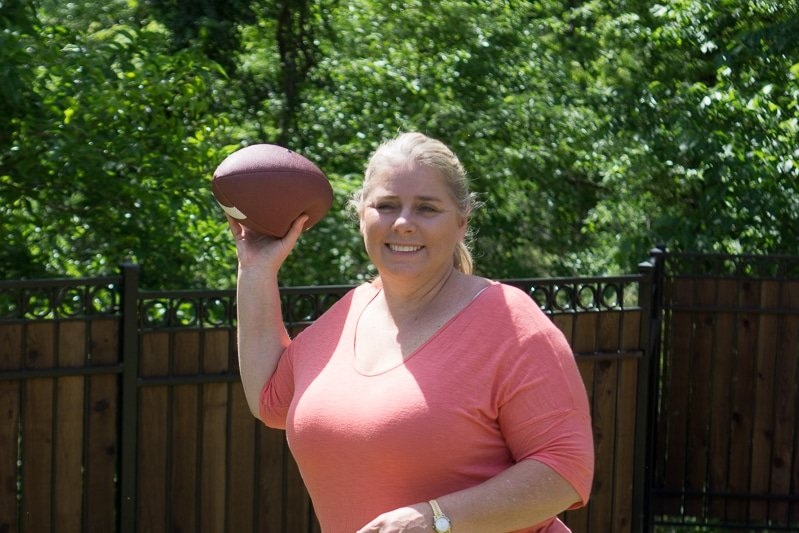 Tossing the football for 500 - one of the best outdoor games for kids