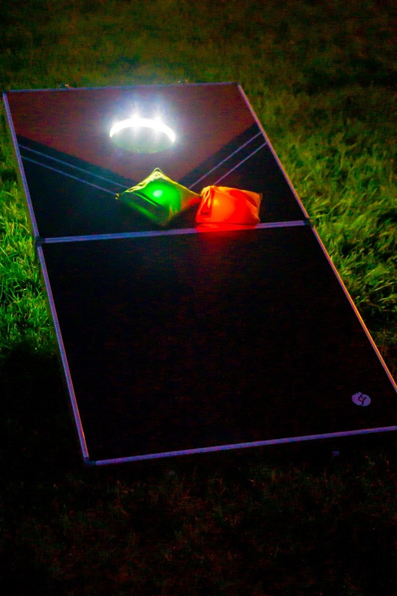 Glow in the dark corn hole and other outdoor games