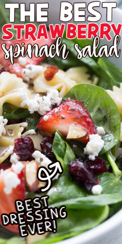 Strawberry spinach salad with text for Pinterest
