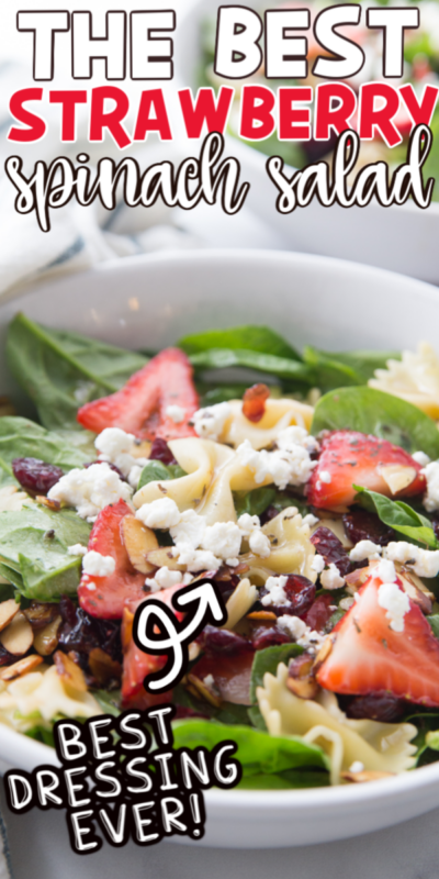 Strawberry spinach salad in a bowl with text for Pinterest