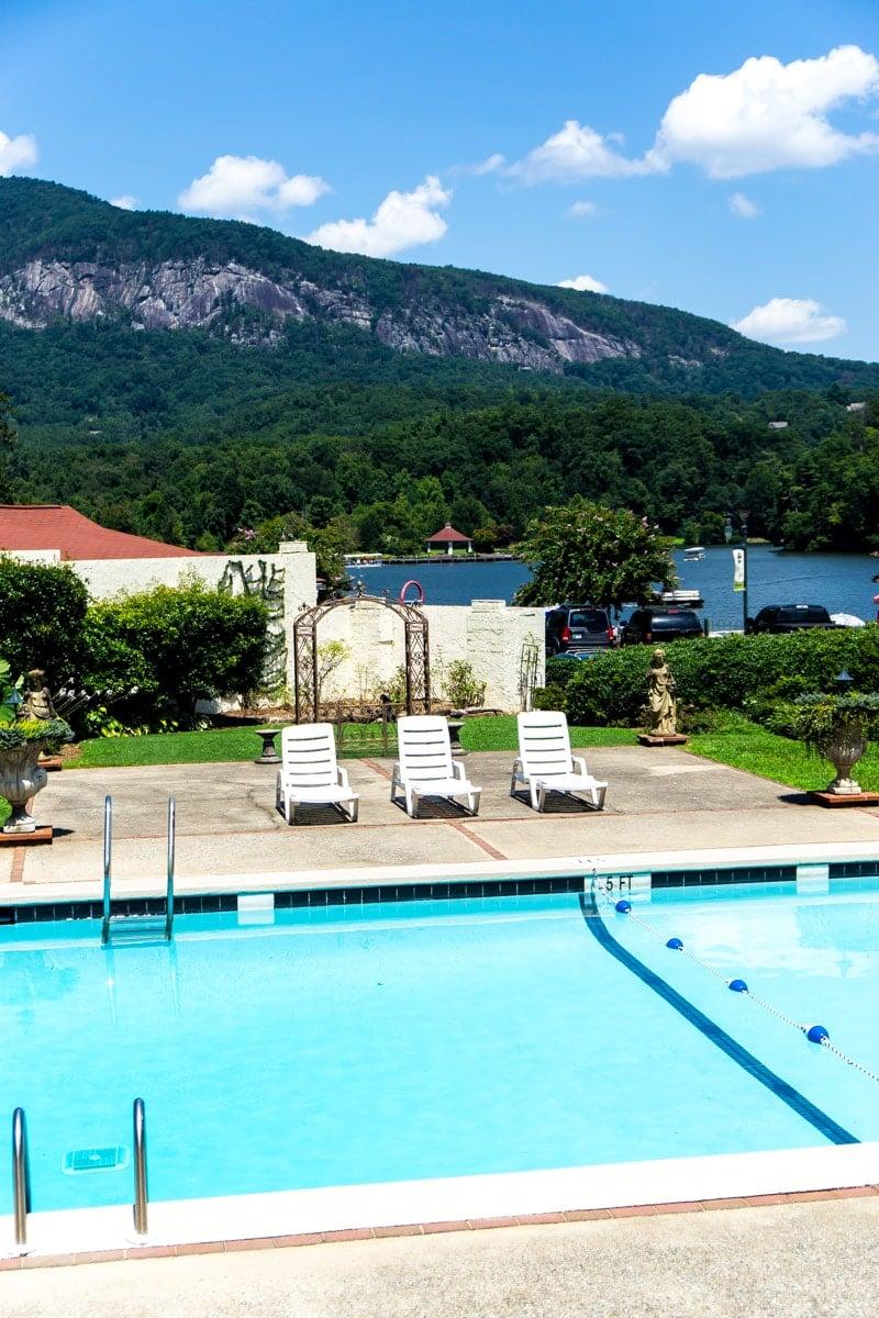 The pool outside the Lake Lure Inn