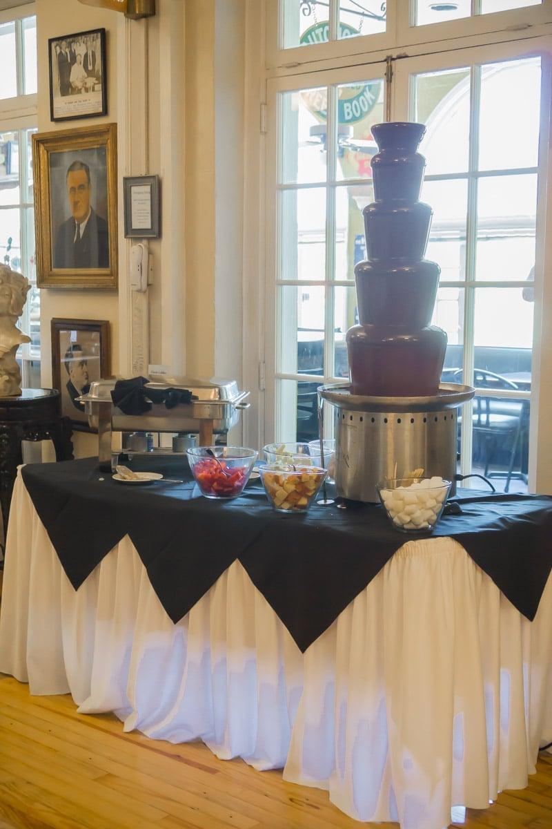 The chocolate fondue fountain at the Lake Lure Inn brunch buffet