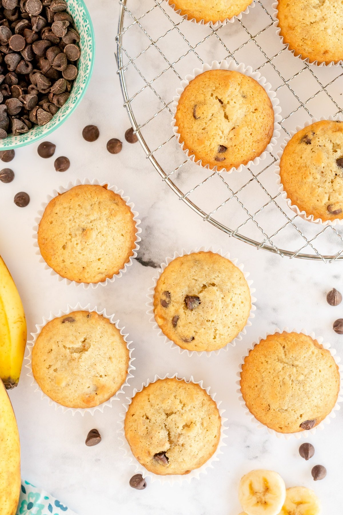 Top down view of banana nut muffins