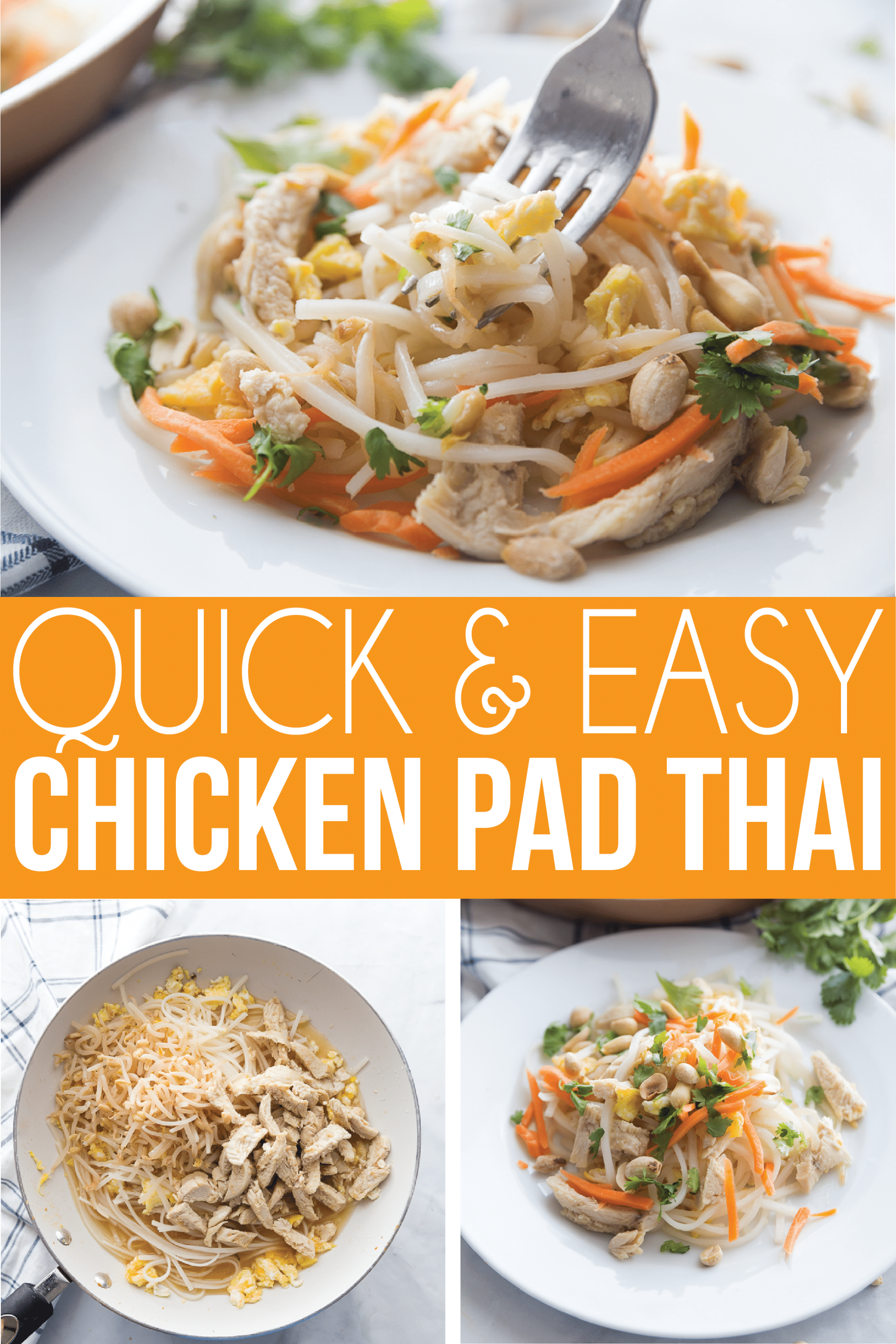 An easy Pad Thai recipe that can be made with chicken or shrimp. Or go for tofu instead to make this a great vegetarian or vegan pad Thai recipe as well! It's the best Pad Thai recipe I've found and can be topped with any healthy ingredients you want! via @playpartyplan
