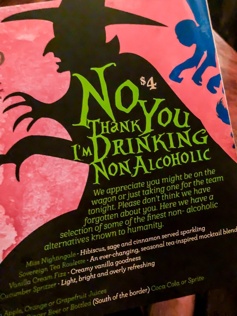 A non-alcoholic drink menu during First Fridays Phoenix