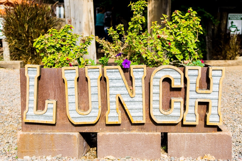 Lunch sign outside The Farm at South Mountain