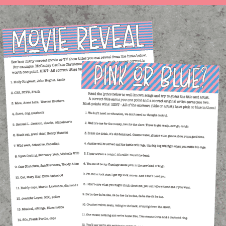 Free printable gender reveal party games inspired by pop culture
