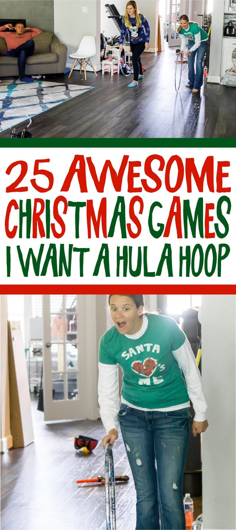 Christmas games inspired by popular songs like I want a hula hoop