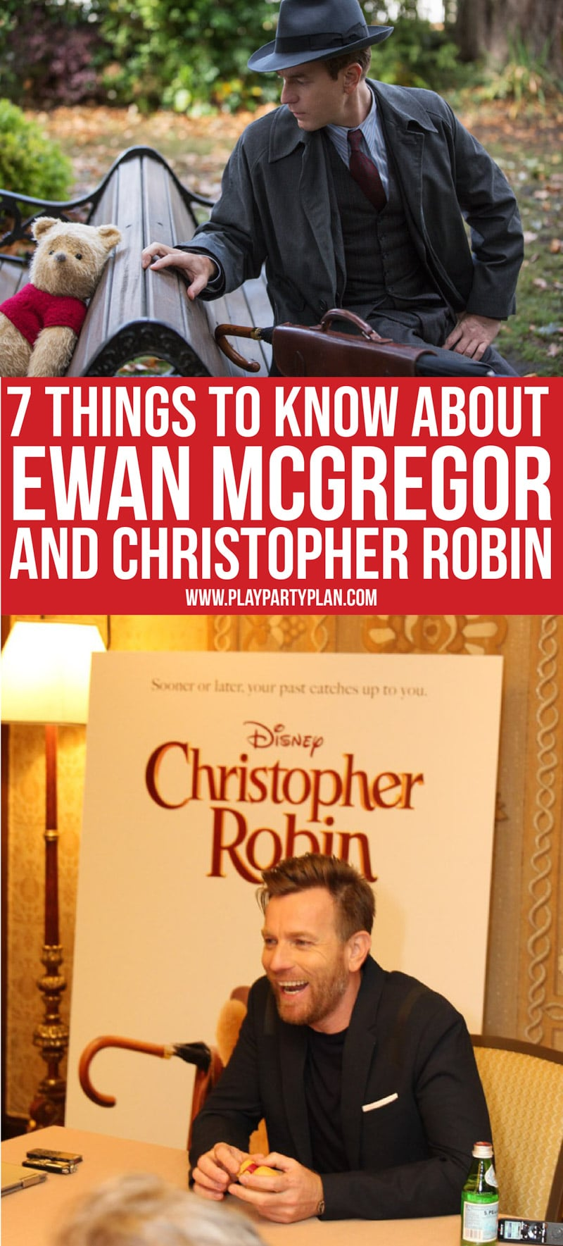 A collage of images from an Ewan McGregor interview about Christopher Robin