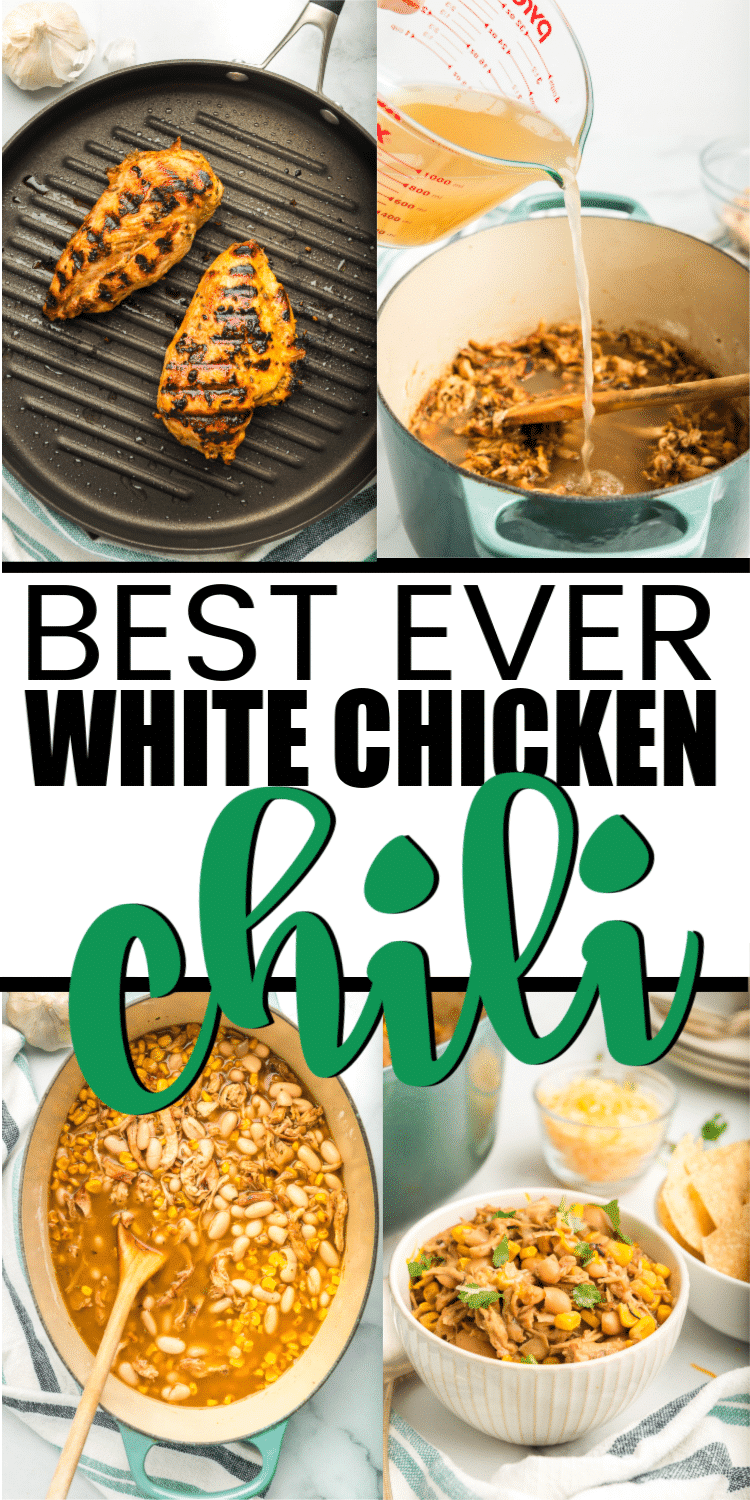 The best stove top white chicken chili recipe ever! It's creamy, easy to make, and absolutely delicious. Perfect for a chili cookoff or a game day meal!