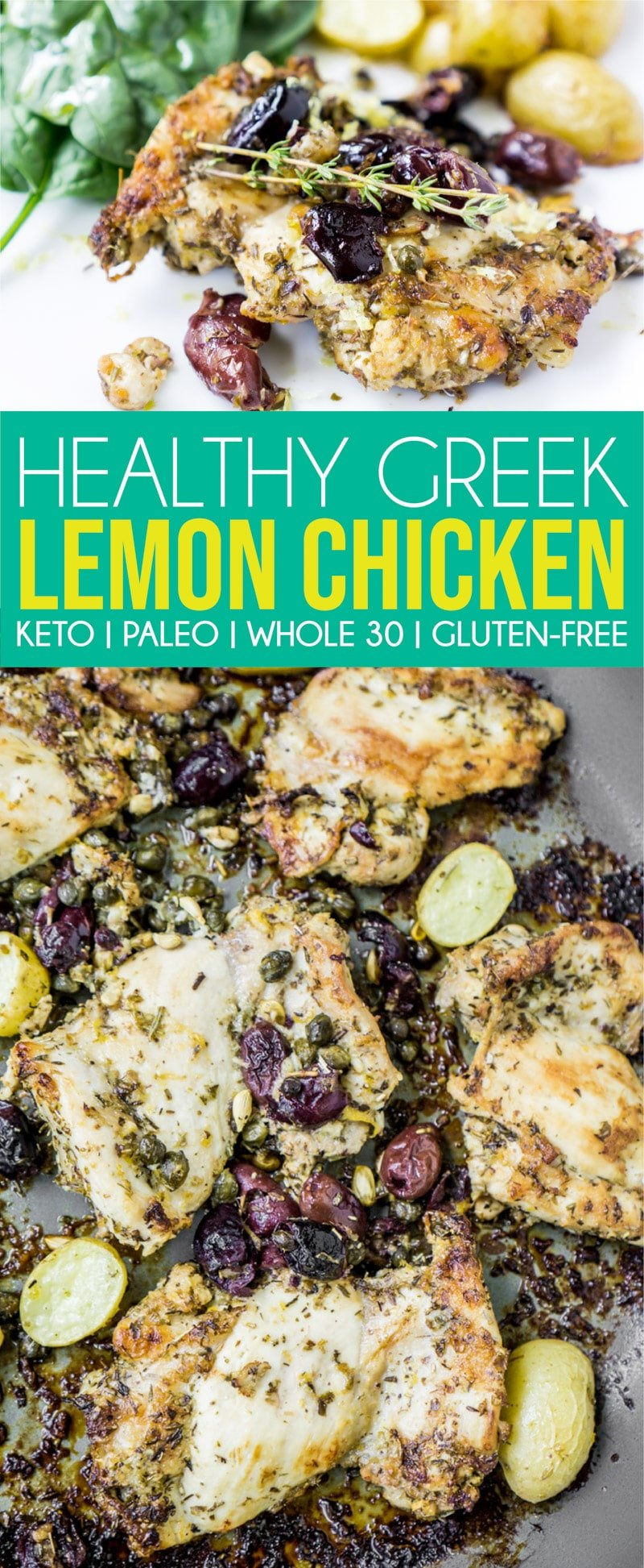These baked chicken thighs are started with a quick fry in a skillet then finish off in the oven! The lemon and Greek flavors together combine for one healthy and delicious meal! Perfect for anyone eating keto, Whole 30, paleo, or just trying to eat healthy in general! #keto #healthy #healthyrecipes #chicken #chickenrecipes #dinner #dinnerideas