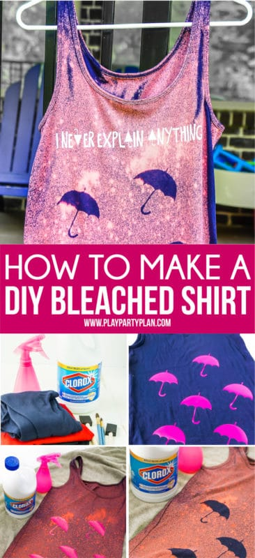 A collage of photos showing how to make a bleached shirt