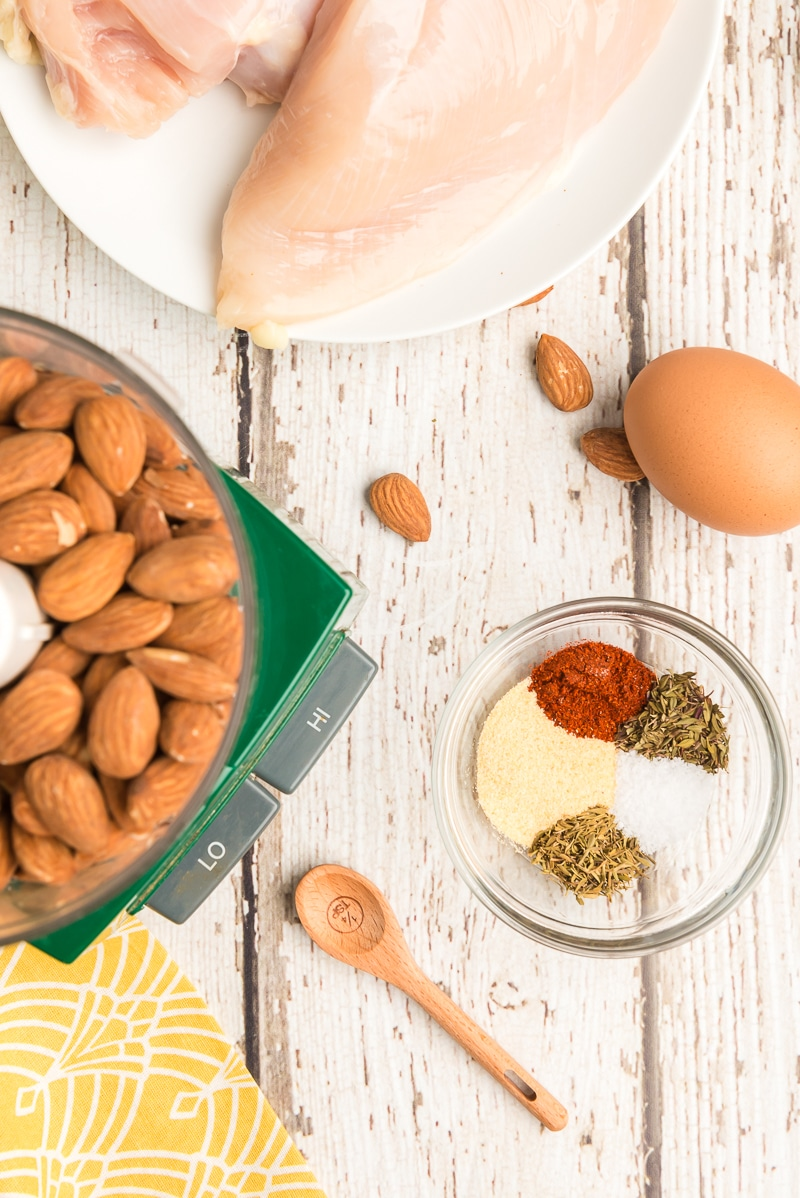 Ingredients for an almond chicken recipe