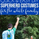 A collage of images showing family DIY superhero costume ideas