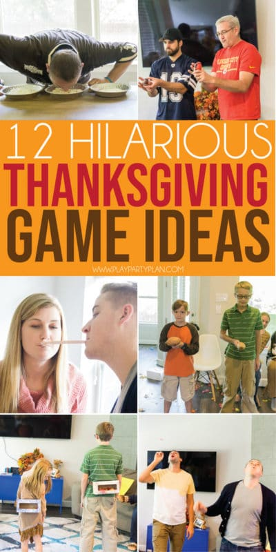 Hilarious Thanksgiving games for family! Games that work great for adults, for kids, and everyone in between! Tons of funny group games and activities that the whole family will love!