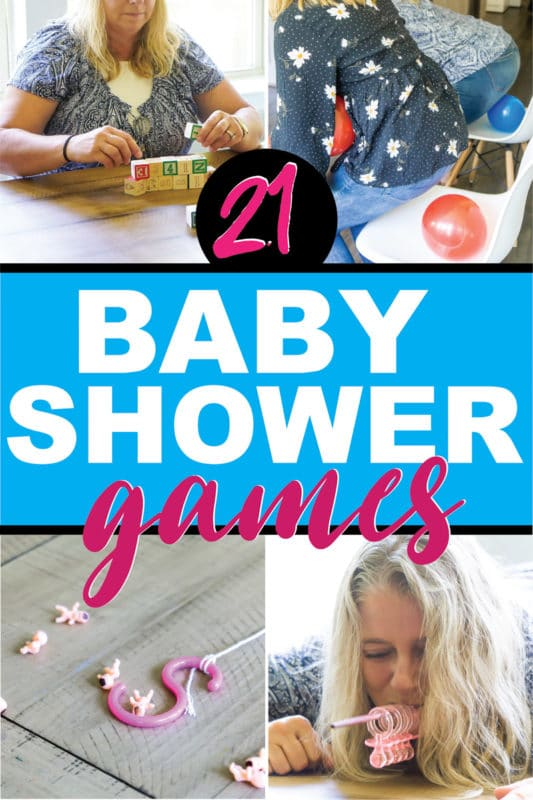 20 of the best baby shower games that aren't lame! Perfect for a coed shower, for large groups, and for boys or for girls themed showers! They're funny, easy to setup, and totally unique! Play minute to win it style with couples or individually for one hilarious baby shower!