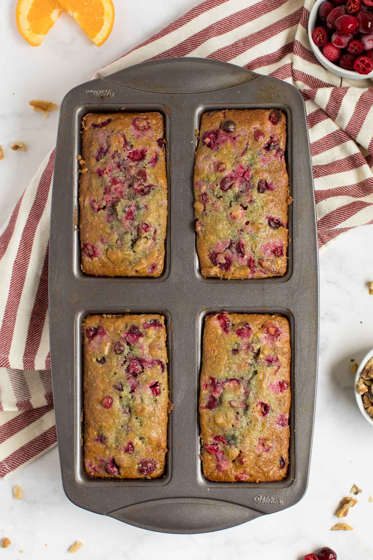 Mini loaf pan with cranberry orange bread