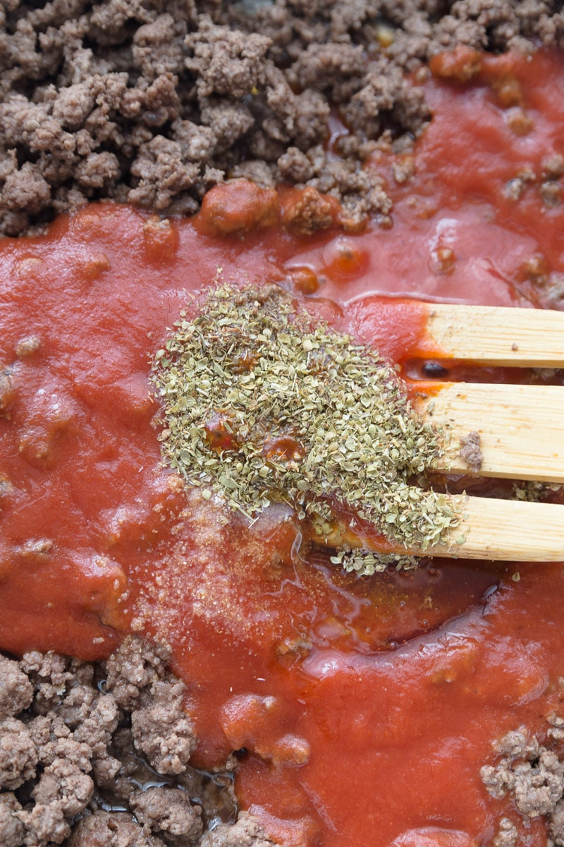 A spoon full of spices in the best spaghetti sauce recipe