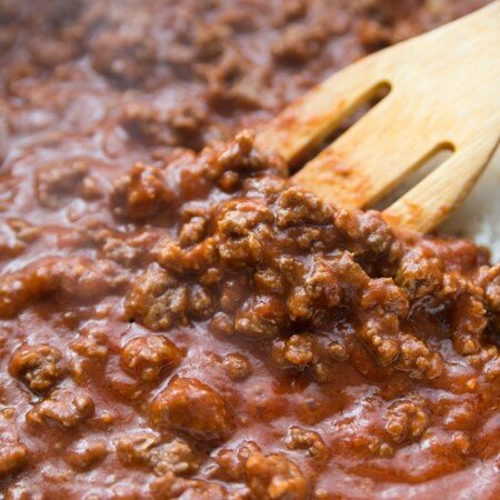 A pan full of the best sweet spaghetti meat sauce