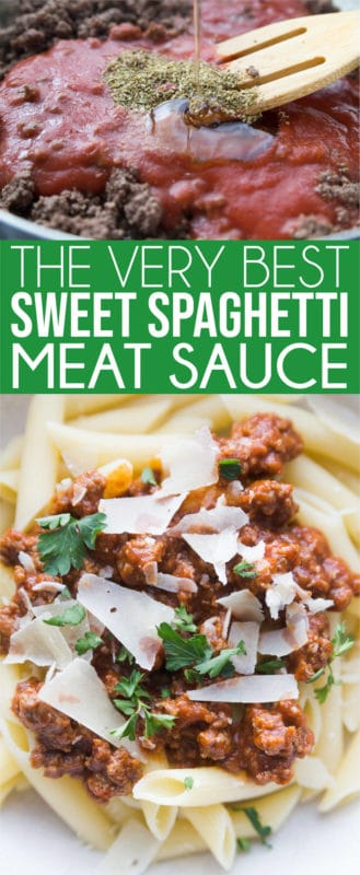 Easy homemade spaghetti sauce that's sweet, meaty, and absolutely delicious! It's simple to make from scratch and one of the best healthy Italian sauces I've ever tried!