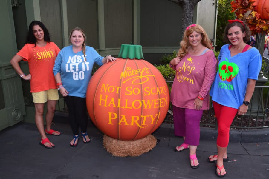 Costumes and the great pumpkin at Mickey's Not So Scary Halloween Party