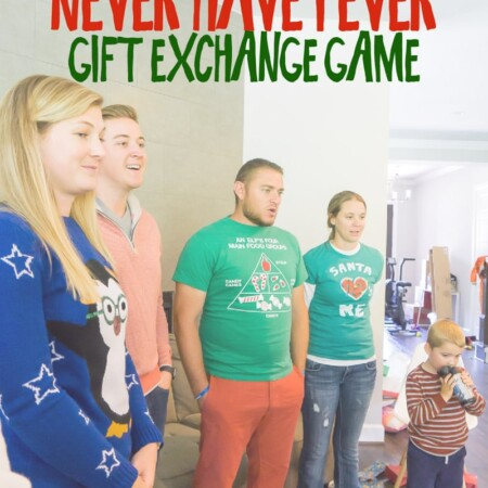 A group of people playing a Christmas Never Have I Ever game and reading Never Have I ever questions