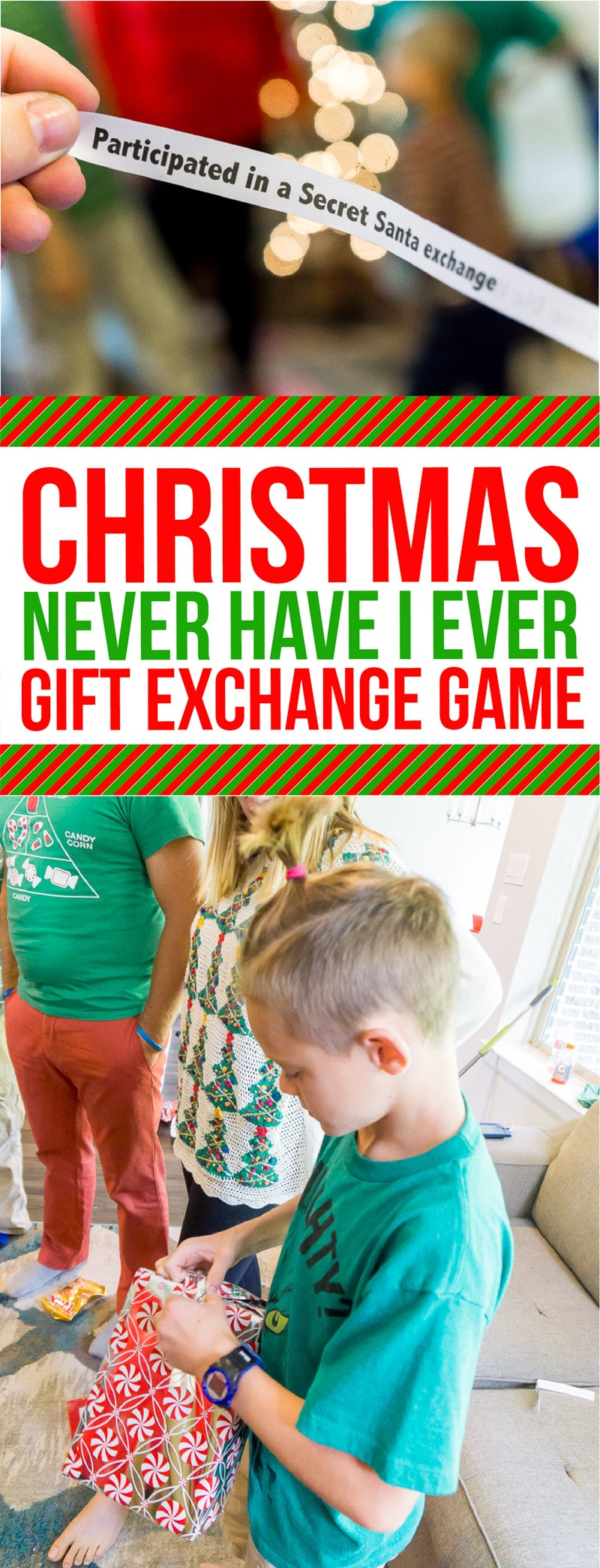 This Christmas Never Have I Ever game is one of the most funny gift games we've ever played! Perfect if you're looking for something for adults, teens, or even for kids! With a printable list of over 50 clean Never Have I Ever questions, it's one of those ideas you just have to try! via @playpartyplan