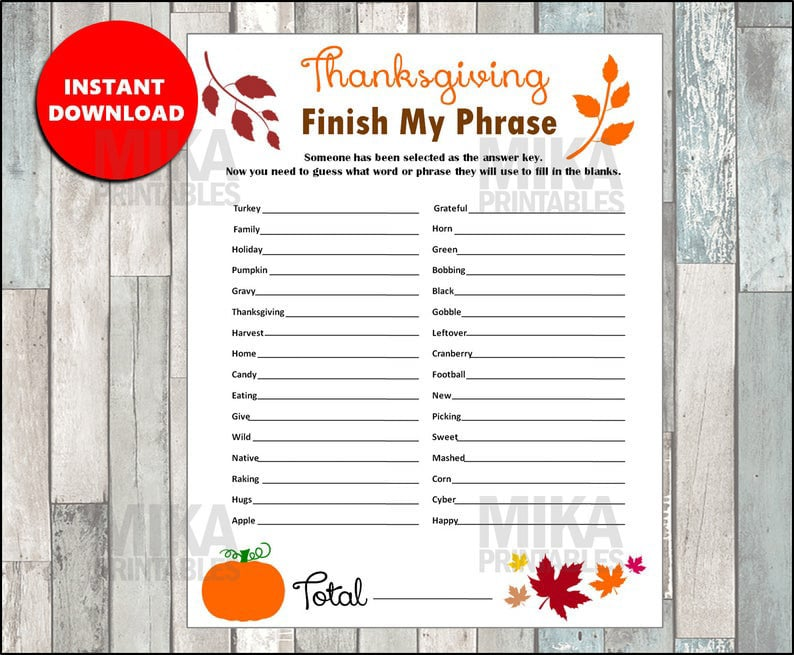 Finish my phrase Thanksgiving games for kids