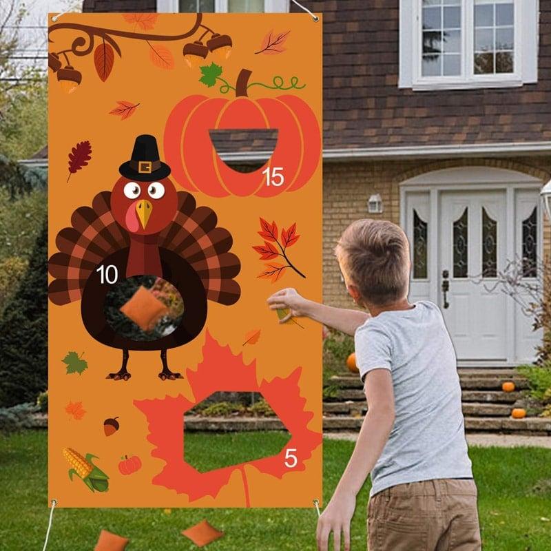 Outdoor Thanksgiving bean bag toss